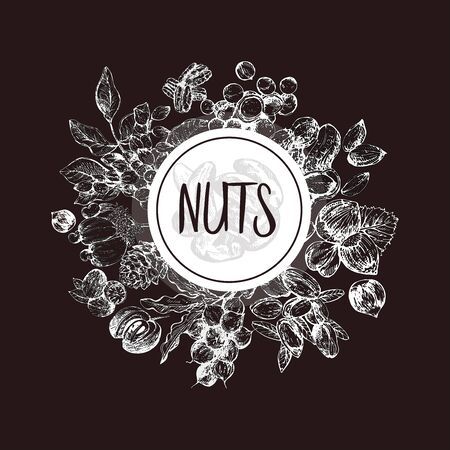 Poster card composition of hand drawn sketch style different kinds of nuts isolated on dark background. Vector illustration.