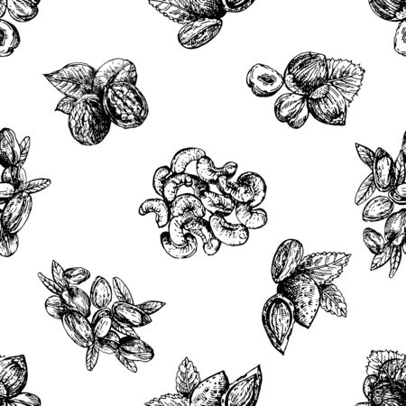 Seamless pattern of hand drawn sketch style different kinds of nuts isolated on white background. Vector illustration. Illustration