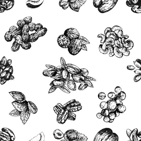 Seamless pattern of hand drawn sketch style different kinds of nuts isolated on white background. Vector illustration.