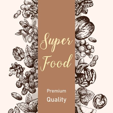 Poster card composition of hand drawn sketch style different kinds of nuts. Isolated vector illustration. Vecteurs