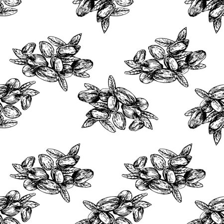 Seamless pattern of hand drawn sketch style pistachios isolated on white background. Vector illustration. Illustration