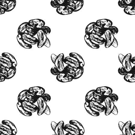 Seamless pattern of hand drawn sketch style Brazilian nuts isolated on white background. Vector illustration.