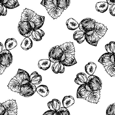 Seamless pattern of hand drawn sketch style hazelnuts isolated on white background. Vector illustration.