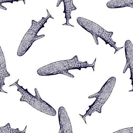 Seamless pattern of hand drawn sketch style abstract ethnic sharks isolated on white background. Vector illustration.