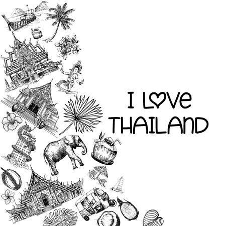 Poster card composition of hand drawn sketch style Thailand related objects isolated on white background. Vector illustration.