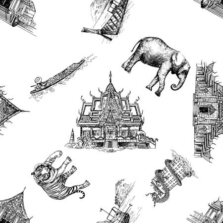 Seamless pattern of hand drawn sketch style Thailand related objects isolated on white background. Vector illustration. Illustration