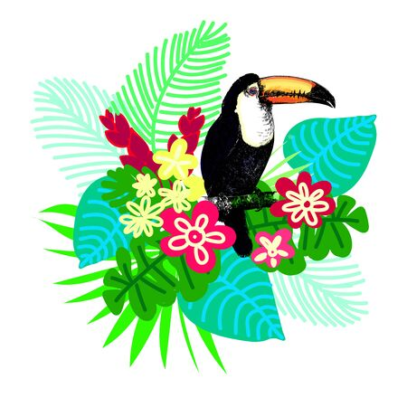 Poster card composition of hand drawn sketch style toucan with tropical plants isolated on white background. Vector illustration.