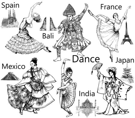 Set of hand drawn sketch style dancers isolated on white background. Vector illustration.