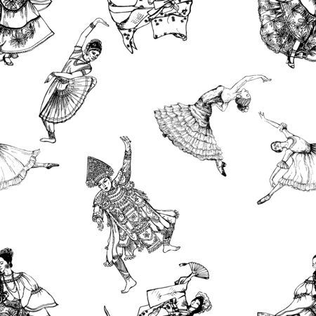 Seamless pattern of hand drawn sketch style dancers isolated on white background. Vector illustration. Ilustrace