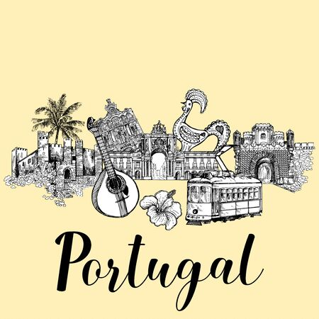 Poster card composition of hand drawn sketch style Portugal related objects. Isolated vector illustration.