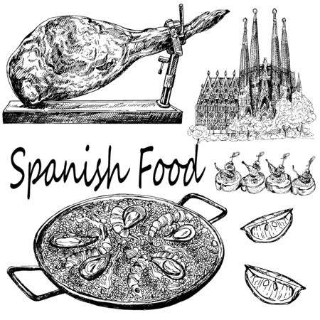 Set of hand drawn sketch style Spainish food isolated on white background. Vector illustration. Ilustração