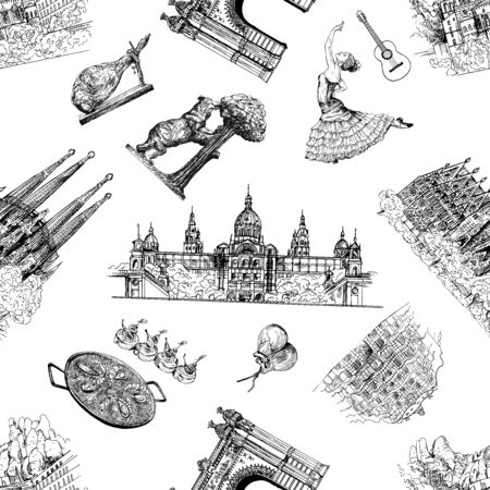 Seamless pattern of hand drawn sketch style Spain related objects isolated on white background. Vector illustration. Ilustração