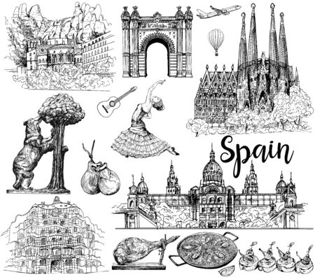 Poster / card / composition of colorful hand drawn sketch style Spain related objects isolated on white background. Vector illustration. Ilustração