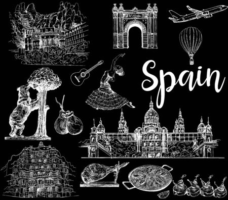Poster / card / composition of colorful hand drawn sketch style Spain related objects isolated on black background. Vector illustration. Ilustração