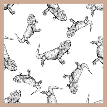 Seamless pattern of hand drawn sketch style bearded dragons isolated on white background. Vector illustration. Ilustração
