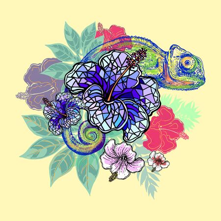 Poster / card/ composition of hand drawn sketch style abstract chameleon and plants isolated on yellowish background. Vector illustration.