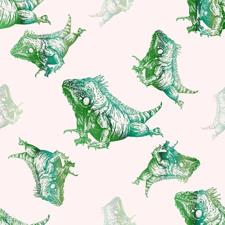 Seamless pattern of hand drawn sketch style iguana lizards. Isolated vector illustration. Ilustração