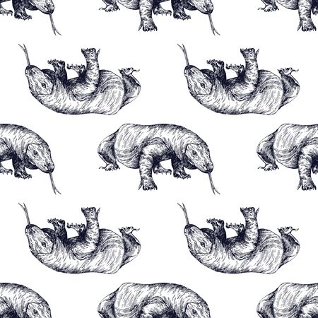 Seamless pattern of hand drawn sketch style Komodo dragons isolated on white background. Vector illustration.