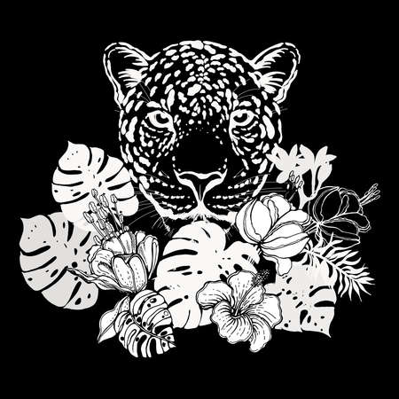 Poster / card / composition of hand drawn sketch style portrait of leopard with tropical plants isolated on black background. Vector illustration.