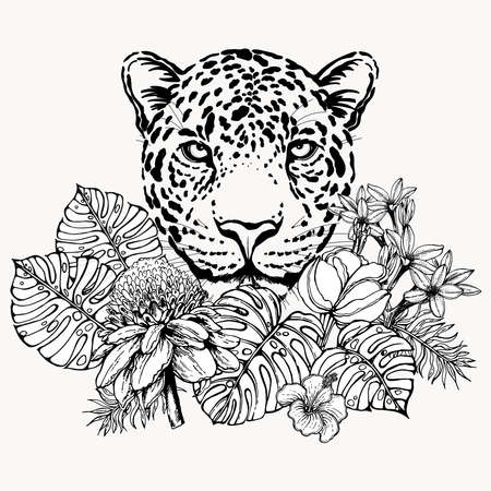 Poster / card / composition of hand drawn sketch style portrait of leopard with tropical plants isolated on white background. Vector illustration.