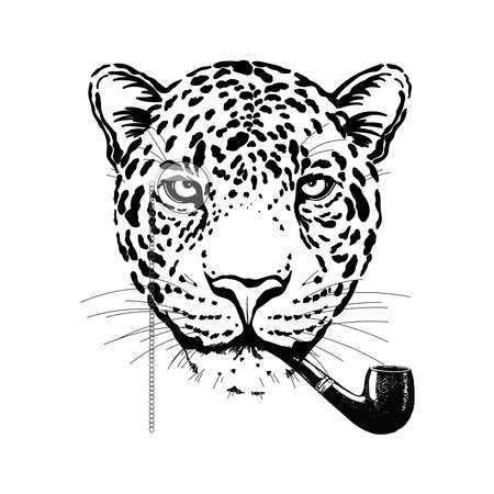 Hand drawn sketch style burlesque portrait of funny leopard with smoking pipe isolated on white background. Vector illustration.