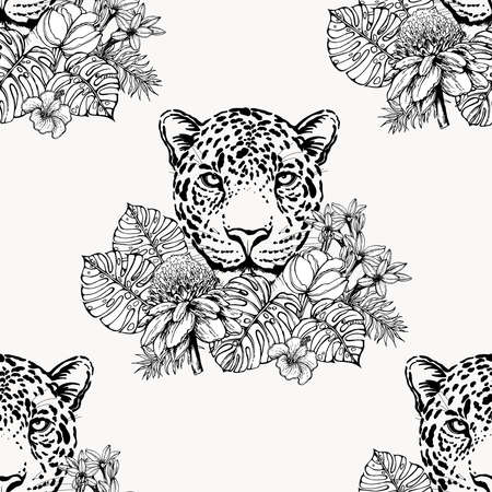 Seamless pattern of hand drawn sketch style portrait of leopard with tropical plants isolated on white background. Vector illustration.