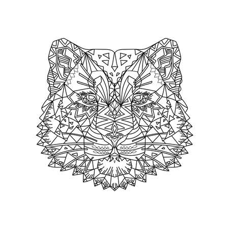 Hand drawn sketch style abstract portrait of snow leopard isolated on white background. Vector illustration.