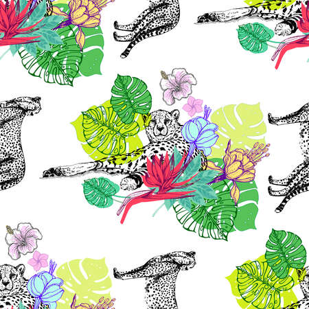 Seamless pattern of hand drawn sketch style cheetah with tropical plants and flowers isolated on white background. Vector illustration. Ilustração