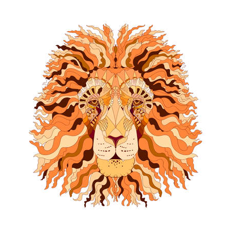 Hand drawn sketch style abstract colorful portrait of lion isolated on white background. Vector illustration.