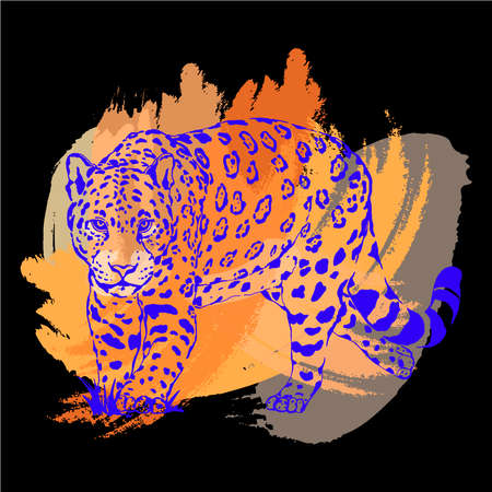 Hand drawn sketch style leopard isolated on back background. Vector illustration. Ilustração