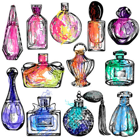 Set of hand drawn sketch style colorful bottles of perfume isolated on white background. Vector illustration. 矢量图像