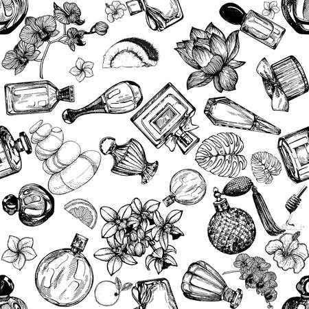 Seamless pattern of hand drawn sketch style bottles of perfume and plants isolated on white background. Vector illustration. 免版税图像 - 153206106