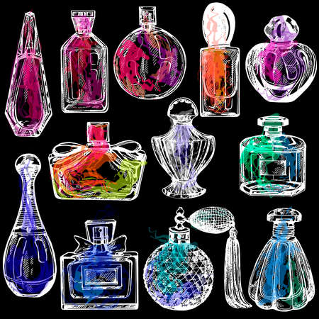 Set of hand drawn sketch style colorful bottles of perfume isolated on black background. Vector illustration.
