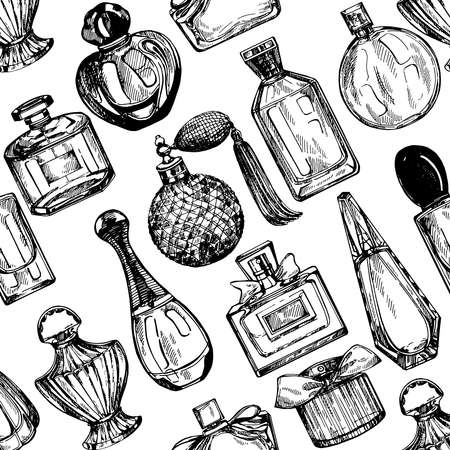 Seamless pattern of hand drawn sketch style bottles of perfume isolated on white background. Vector illustration.