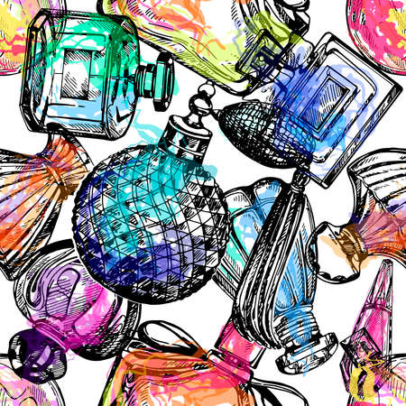 Seamless pattern of hand drawn sketch style colorful bottles of perfume isolated on white background. Vector illustration. Reklamní fotografie - 153206143
