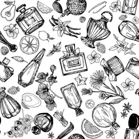 Seamless pattern of hand drawn sketch style bottles of perfume and plants isolated on white background. Vector illustration. 免版税图像 - 153206146