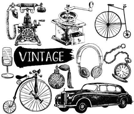 Set of hand drawn sketch style different vintage objects isolated on white background. Vector illustration.