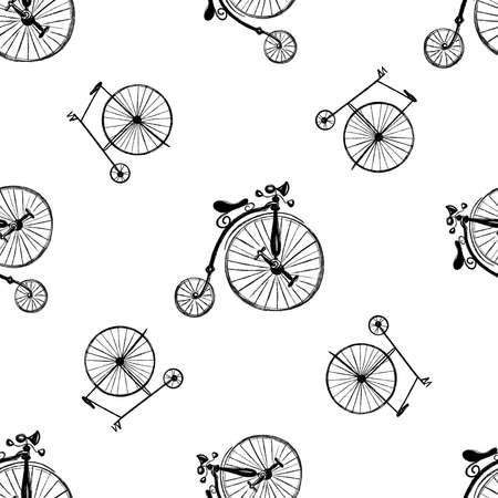 Seamless pattern of hand drawn sketch style penny-farthing bicycles isolated on white background. Vector illustration.