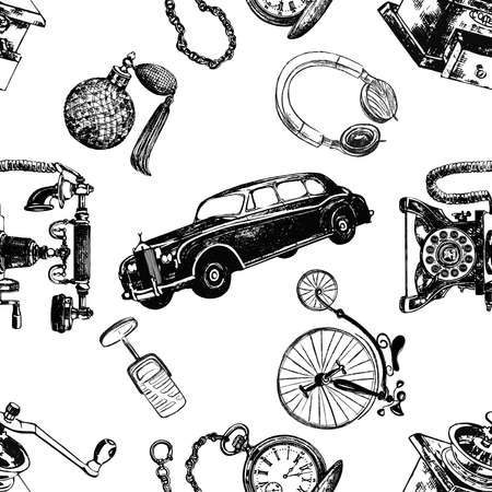 Seamless pattern of hand drawn sketch style different vintage objects isolated on white background. Vector illustration. 免版税图像