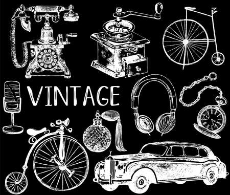 Set of hand drawn sketch style different vintage objects isolated on black background. Vector illustration. Reklamní fotografie - 155640478