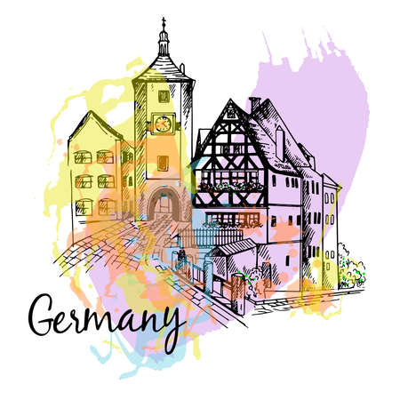 Poster card composition of German city scape isolated on white background. Vector illustration. 矢量图像