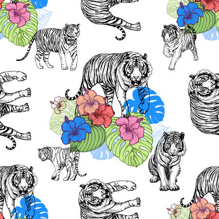 Seamless pattern of hand drawn sketch style tigers and flowers isolated on white background. Vector illustration.