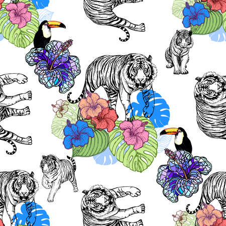 Seamless pattern of hand drawn sketch style tigers, toucans and flowers isolated on white background. Vector illustration. 免版税图像