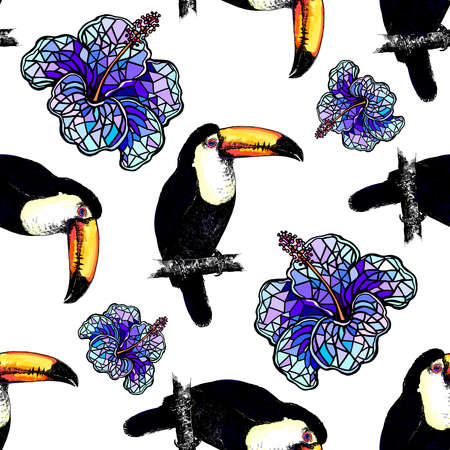 Seamless pattern of hand drawn sketch style colorful toucans and abstract flowers. Vector illustration isolated on white background. 免版税图像