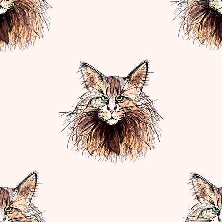 Seamless pattern of hand drawn sketch style isolated Maine Coon cats.