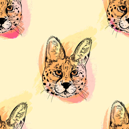 Seamless pattern of hand drawn sketch style isolated servals.