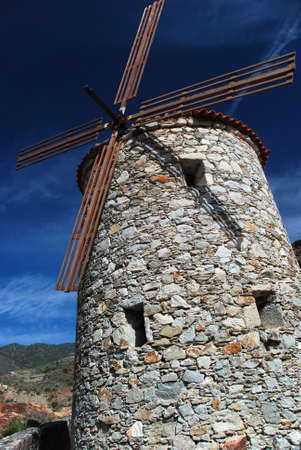 old windmill made of stone in gran canaria, canary islands Stock Photo