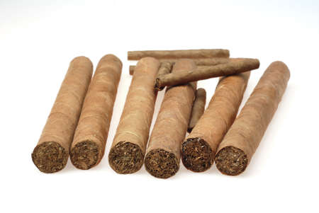 big and small cuban cigars isolated