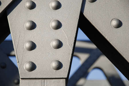 Close-up of rivets of an iron bridge
