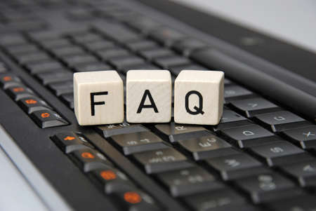 FAQ Frequently askes questions with keyboard illustration Standard-Bild